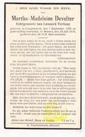 DP Martha M. Develter ° Langemark 1896 † Menen Menin 1936 X Leo Tertooy - Images Religieuses
