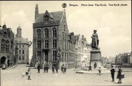 Cp Bruges Brügge Flandern Westflandern, Place Jean Van Eyck, Denkmal - Belgique