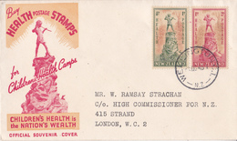 New Zealand Official Souvenir FDC Cover 1945 Childrens Health Nation's Wealth To London High Commissioner For N.Z. - FDC