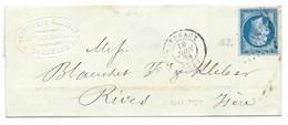 N° 14 BLEU NAPOLEON SUR LETTRE / BORDEAUX POUR RIVES / 19 JUIN 1861 - 1849-1876: Classic Period