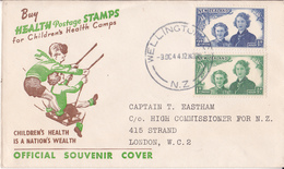 New Zealand Official Souvenir FDC Cover 1944 Childrens Health Nation's Wealth To London High Commissioner For N.Z. - FDC