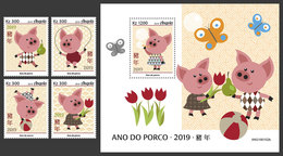 ANGOLA 2019 - Year Of The Pig, 4v + S/S. Official Issue - Astrologie