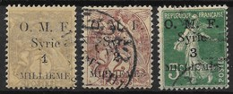 SYRIE : TYPE BLANC SEMEUSE SURCHARGE LETTRES MAIGRES N° 21/23 OBLITERES COTE 38€ - Gebraucht