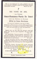 DP Omer Romanus M. De Smet / Beeckman 31j. ° Wanzele 1896 † Lede 1927 - Images Religieuses