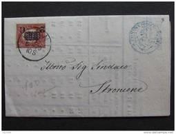 """9 ITALIA Regno-1878- """"Ondine"""" C. 2 Su 0.05 TERNI>STRONCONE DIF.(descrizione) - Storia Postale"""