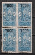 Togo - 1921-22 - N°Yv. 113 - Palmier 50c - Bloc De 4 - Neuf Luxe ** / MNH / Postfrisch - Unused Stamps