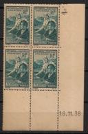 France - 1939 - N°Yv. 417 - Oeuvres Sociales - Bloc De 4 Coin Daté - Neuf Luxe ** / MNH / Postfrisch - Hoekdatums