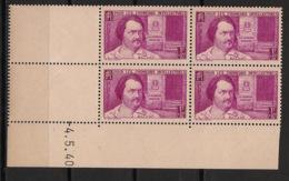 France - 1940 - N°Yv. 463 - Balzac - Bloc De 4 Coin Daté - Neuf Luxe ** / MNH / Postfrisch - 1940-1949