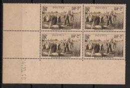 France - 1940 - N°Yv. 466 - Moisson - Bloc De 4 Coin Daté - Neuf Luxe ** / MNH / Postfrisch - 1940-1949