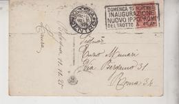 BOLOGNA VIA DEL MONTE PALAZZO BONCOMPAGNI  1925 TIMBRO TARGHETTA IPPODROMO MILANO - Bologna
