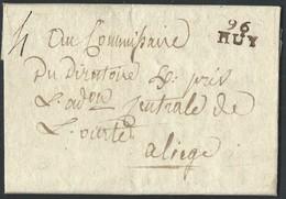 """L.  De Pontillas An 7 Marque  96/HUY  (16X10mm) + """"4""""  Pour Liège. Luxe - 1794-1814 (Période Française)"""