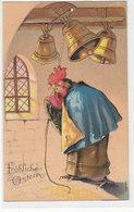 Fröhliche Ostern Mit Hahn Und Glocken - Superprägekarte         (190607) - Ostern