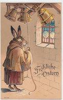 Fröhliche Ostern Mit Häsin Und Glocken - Superprägekarte         (190607) - Pascua