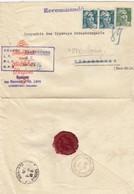 LETTRE . 1946 . RARE CHARGE  SARREBOURG RECOMMANDE PROVISOIRE CACHET CIRE LES NEVEUX D'ABEL LEVY - Marcofilie (Brieven)