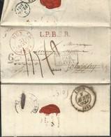 """L Càd HUY/31/JAN/1834 +L.P.B.2.R.+ """"6"""" Pour Paris, Réexpédiée Vers Clamecy Et Lyon. Arriv Le 7 Avril (66 Jours) RR - 1830-1849 (Belgique Indépendante)"""