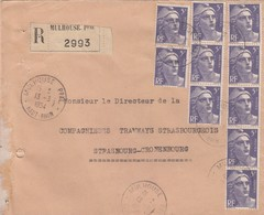 LETTRE . 1954 . RECOMMANDE 50Fr. GANDON MULHOUSE POUR STRASBOURG - Postmark Collection (Covers)