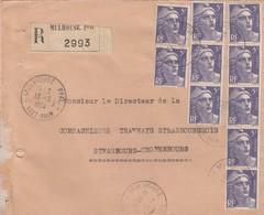 LETTRE . 1954 . RECOMMANDE 50Fr. GANDON MULHOUSE POUR STRASBOURG - Marcophilie (Lettres)