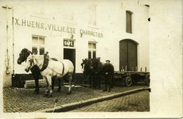 Carte Photo Animée X HUENS-VILLIESSE Charretier Café Jodoigne - Jodoigne