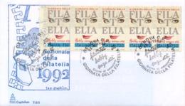 Italy 1992 FDC Stamp Day 5 X 750 Lire Complete Strip From Booklet Libretto Giornata Della Filatelia - Giornata Del Francobollo