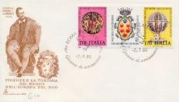 Italy 1980 FDC Medici Family Se-tenant Strip 2 X 750 Lire + Label Firenze E Toscana Nell'Europa Del Cinquecento Striscia - Storia