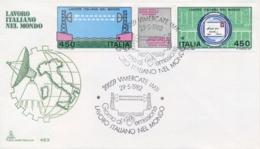 Italy 1982 FDC Italian Work In The World Se-tenant Strip 2 X 450 Lire + Label Lavoro Italiano Nel Mondo Striscia - Fabbriche E Imprese