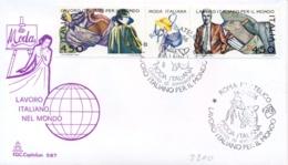 Italy 1986 FDC Italian Fashion Se-tenant Strip 2 X 450 Lire + Label Lavoro Italiano Nel Mondo La Moda Striscia - Fabbriche E Imprese