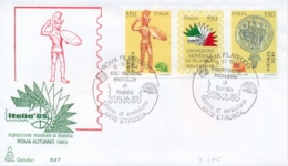 Italy 1984 FDC Etruscan Art Se-tenant Strip 3 X 550 Lire Esposizione Filatelica Mondiale Italia 85 Arte Etrusca Striscia - Archaeology