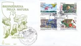 Italy 1984 FDC Safeguard The Woods Se-tenant Block 4 X 450 Lire Salvaguardiamo I Boschi - Protezione Dell'Ambiente & Clima