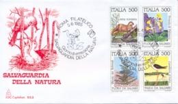 Italy 1985 FDC Flora And Fauna To Be Saved Se-tenant Block 4 X 500 Lire Flora E Fauna Da Salvare - Protezione Dell'Ambiente & Clima