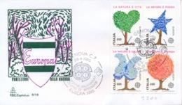 Italy 1986 FDC Europe CEPT The Nature Se-tenant Block 4 X 650 Lire Europa CEPT La Natura - Protezione Dell'Ambiente & Clima