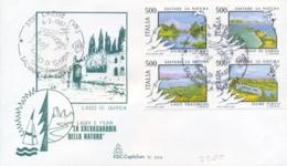 Italy 1987 FDC Protection Of Lakes And Rivers Se-tenant Block 4 X 500 Lire Salvare La Natura Protezione Di Laghi E Fiumi - Protezione Dell'Ambiente & Clima