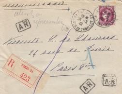 LETTRE . 1940 . RECOMMANDE AR 3Fr. PARIS POUR PARIS. VERSO CACHET CIRE VIOLET BLASON ET COURONNE - Postmark Collection (Covers)