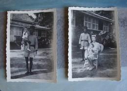 2 Photos D'une Femme Avec Enfant ( Famille Française) Et Son Serviteur Jardin Villa- Conakry (Guinée Française) 1943 - Places