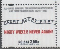 POLAND, 2017, MNH, WWII, NAZI CONCENTRATION CAMPS, NEVER AGAIN, 1v - WW2