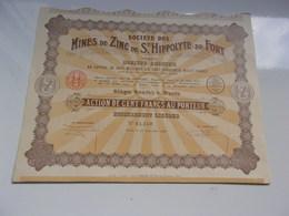 MINES DE ZINC DE SAINT HIPPOLYTE DU FORT (100 Francs) 1927 - Unclassified