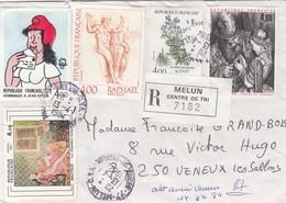 LETTRE . 1984 . RECOMMANDE AR 20Fr. MELUN SEINE ET MARNE POUR VENEUX LES SABLONS TABLEAUX - 1961-....
