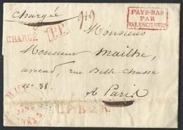 L Càd HUY/1833 +P.P + L.P.B.2.R. + Petite Griffe CHARGE Pour Paris. Très Rare Utilisation De La Petite Griffe CHARGE - 1830-1849 (Belgique Indépendante)