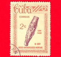 CUBA - Usato - 1963 - 60° Anniversario Del Museo Di Antropologia Montane - Taino-culture Art - 2 - Cuba