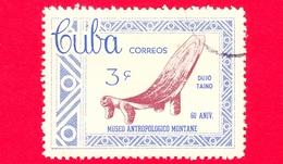 CUBA - Usato - 1963 - 60° Anniversario Del Museo Di Antropologia Montane - Graved Chair - 3 - Cuba