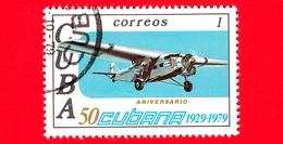 CUBA - Nuovo Obl. - 1979 - 50° Anniversario Delle Linee Aeree Cubane - Aereo - 1 - Nuovi