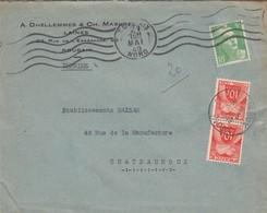 LETTRE . 1949. GANDON 5Fr.  TAXE 20Fr GERBE  /  2 - Taxes