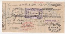 ^ 1924 CRESCENZAGO MILANO MARAZZONI ASSEGNO BANCARIO DOCUMENTO 10 - Documenti Storici