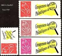 France Marianne De Lamouche N° 3802 A /Aa/B/C ** Les 4 Valeurs Autoadhésives -> Itvf Personnalisé - 2004-08 Marianne Of Lamouche