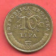 10 Lipa , CROATIE , Acier Plaqué Laiton , 2003 , N° KM # 6 - Croatie