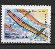 ARGENTINA  1989 World Model Airplane Championships, La Cruz-Embals-Cordoba    F1A Glider    Ø - Used Stamps