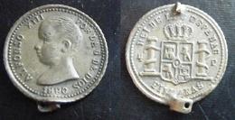 PHILIPPINES 1890 Alphonse XIII D'Espagne Médaille Pseudo-monnaie Bronze - Other