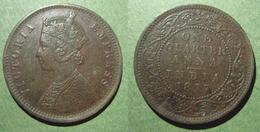 INDES BRITANNIQUES Victoria 1/4 Anna Bronze 1877 Inde Excellent état Angleterre UK GB British India - India