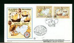 SAN MARINO  - FDC FILAGRANO 1991  - CRISTOFORO COLOMBO - CARAVELLE - Cristoforo Colombo