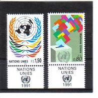 VV370 VEREINTE NATIONEN UNO GENF 1991 Michl 200/01 Mit TABS ** Postfrisch  ZÄHNUNG SIEHE ABBILDUNG - Genf - Büro Der Vereinten Nationen