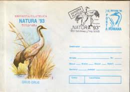 Romania - Postal Stationery Cover 1993 - Birds - The Common Crane (grus Grus) - Grues Et Gruiformes